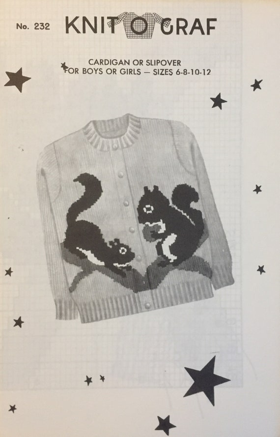 Knit O Graf #232 Vintage Squirrel Sweater Knitting Pattern! (sold by owner)