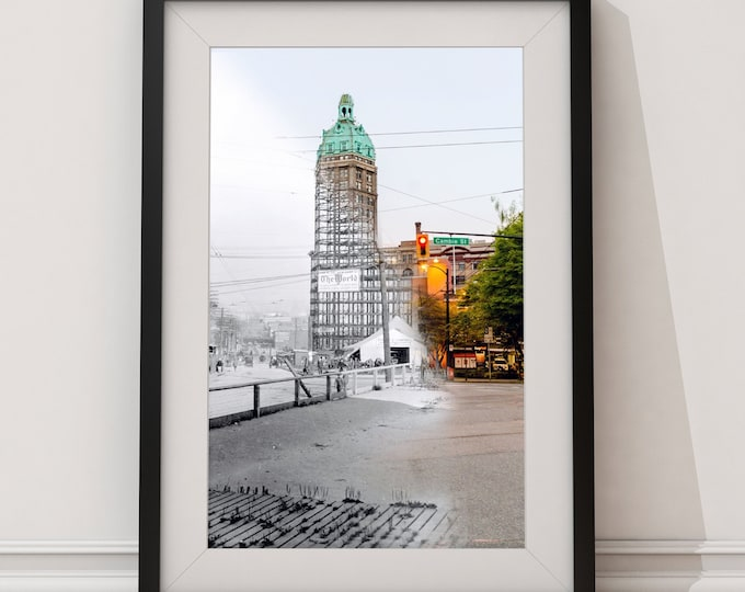 Gastown - Sun Tower | Vancouver 1911 & Now- Print #40 | Poster - Wall Art - Home Decor - Digital Print - Then/Now Photography