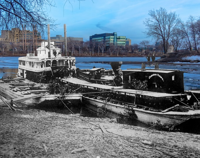 First Train to Arrive by Steamboat | Winnipeg 1876 & Now- Print #7 | Poster - Wall Art - Home Decor - Then/Now Photography