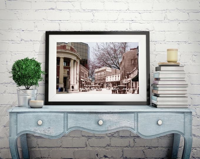 Bank of Commerce - Church Street   Nanaimo 1920s & Now - Print #9   Poster - Wall Art - Home Decor - Digital Print - Then/Now Photography