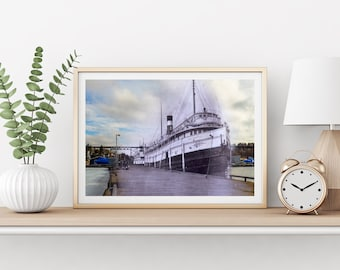 Town Dock - Steamer | Parry Sound 1920s & Now - Print #4 | Poster - Wall Art - Home Decor - Digital Print - Then/Now Photography