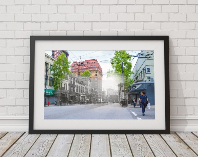 Gastown - Hastings St. | Vancouver 1912 & Now- Print #7 | Poster - Wall Art - Home Decor - Digital Print - Then/Now Photography