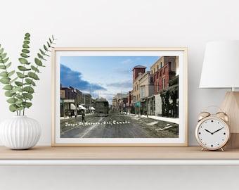 Yonge Street - Streetcar | Aurora 1900s & Now - Print #1 | Poster - Wall Art - Home Decor - Digital Print - Then/Now Photography