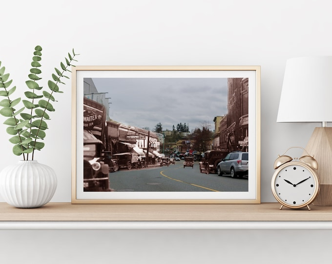 Commercial Street - Cars   Nanaimo 1930s & Now - Print #7   Poster - Wall Art - Home Decor - Digital Print - Then/Now Photography