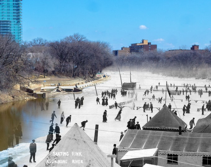 People Skating on the Assiniboine River | Winnipeg 1908 & Now- Print #9 | Poster - Wall Art - Home Decor - Then/Now Photography