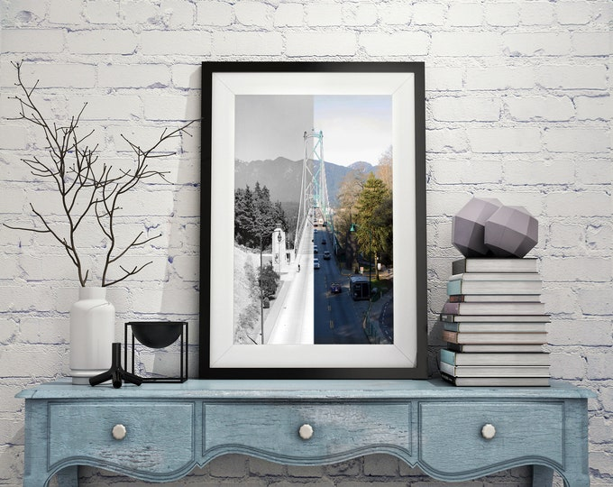 Stunning Lions Gate Bridge Print | Vancouver 1946 & Now | Stanley Park - Poster - Wall Art - Home Decor - Digital Print - Then and Now