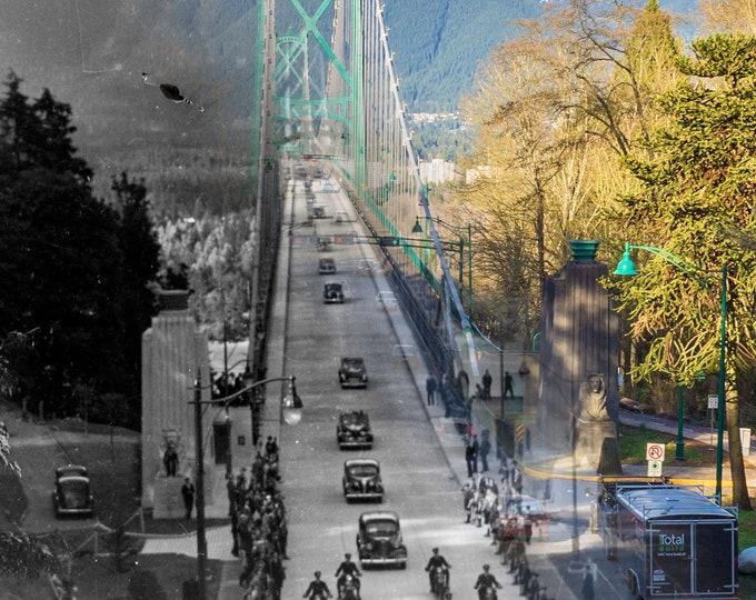 Historic Royal Visit to Vancouver - 1939 & Now | Stanley Park - Lions Gate Bridge - Wall Art - Home Decor - Digital Print - Then/Now