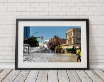 Government Street - Yates Street | Victoria 1860 & Now - Print #14 | Poster - Wall Art - Home Decor - Digital Print - Then/Now Photography