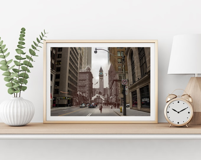 Bay Street | Toronto 1901 & Now - Print #4 | Poster - Wall Art - Home Decor - Digital Print - Then/Now Photography