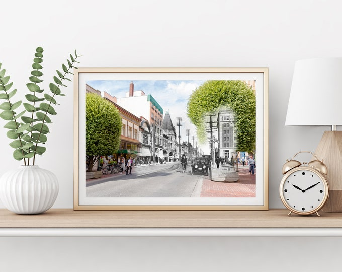 Government Street | Victoria 1914 & Now - Print #1 | Poster - Wall Art - Home Decor - Digital Print - Then/Now Photography