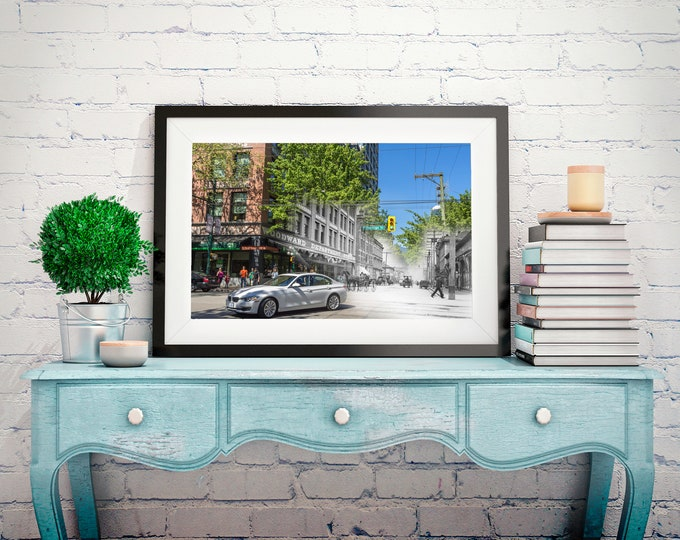 Gastown - Woodward's | Vancouver 1898 & Now - Print #22 | Poster - Wall Art - Home Decor - Digital Print - Then/Now Photography
