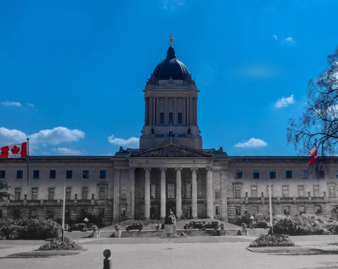 Manitoba Legislature | Winnipeg 1930s & Now- Print #6 | Poster - Wall Art - Home Decor - Then/Now Photography