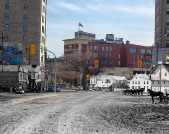 Intersection of Main and Market | Winnipeg 1870 & Now- Print #8 | Poster - Wall Art - Home Decor - Then/Now Photography