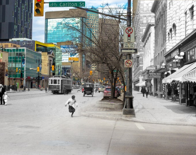 Portage Ave | Winnipeg 1914 & Now- Print #12 | Poster - Wall Art - Home Decor - Then/Now Photography