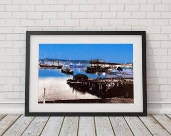 Nanaimo Harbour - Ships | Nanaimo 1870s & Now - Print #8 | Poster - Wall Art - Home Decor - Digital Print - Then/Now Photography