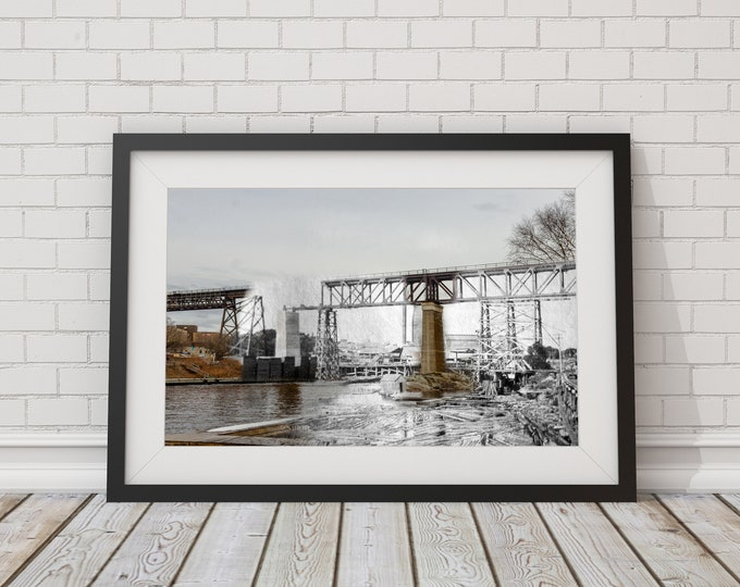 Railway Trestle | Parry Sound 1907 & Now - Print #1 | Poster - Wall Art - Home Decor - Digital Print - Then/Now Photography