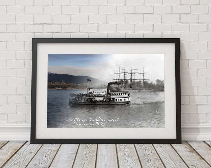 Burrard Inlet Seabus - Vancouver Print - Poster - Wall Art - Home Decor - Digital Print - Then/Now Photography