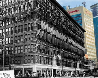 Decorations on the Eaton's Store | Winnipeg 1945 & Now- Print #11 | Poster - Wall Art - Home Decor - Then/Now Photography