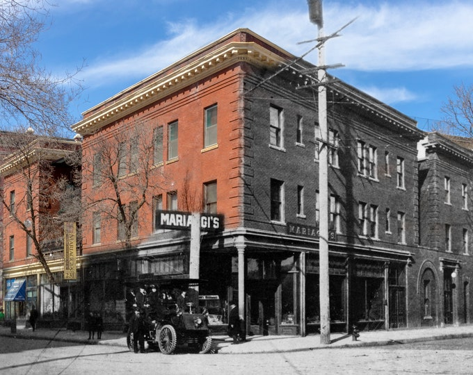 Old Car in front of Mariaggi Hotel | Winnipeg 1903 & Now- Print #4 | Poster - Wall Art - Home Decor - Then/Now Photography