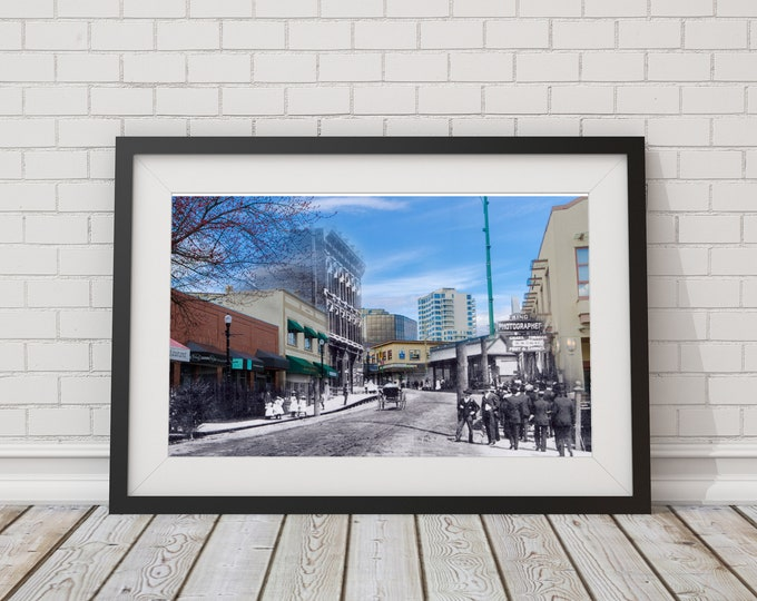 Commercial Street   Nanaimo 1900s & Now - Print #5   Poster - Wall Art - Home Decor - Digital Print - Then/Now Photography