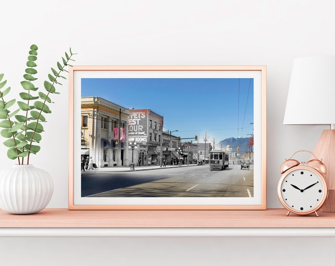 Mt. Pleasant - Streetcar | Vancouver 1912 & Now - Print #8 | Poster - Wall Art - Home Decor - Digital Print - Then/Now Photography
