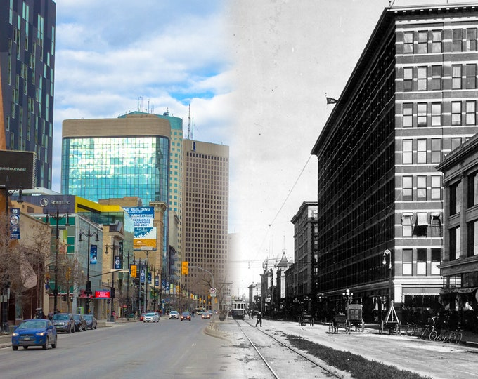 Portage Ave | Winnipeg 1920s & Now- Print #3 | Poster - Wall Art - Home Decor - Then/Now Photography
