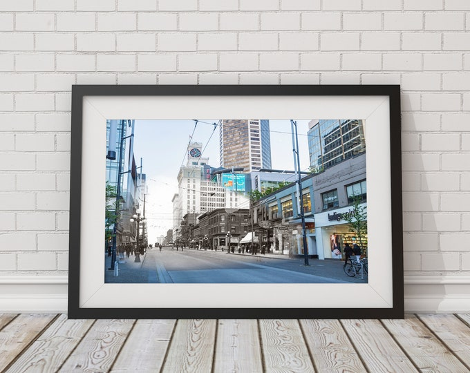 Downtown - Granville St. | Vancouver 1913 & Now - Print #1 | Poster - Wall Art - Home Decor - Digital Print - Then/Now Photography