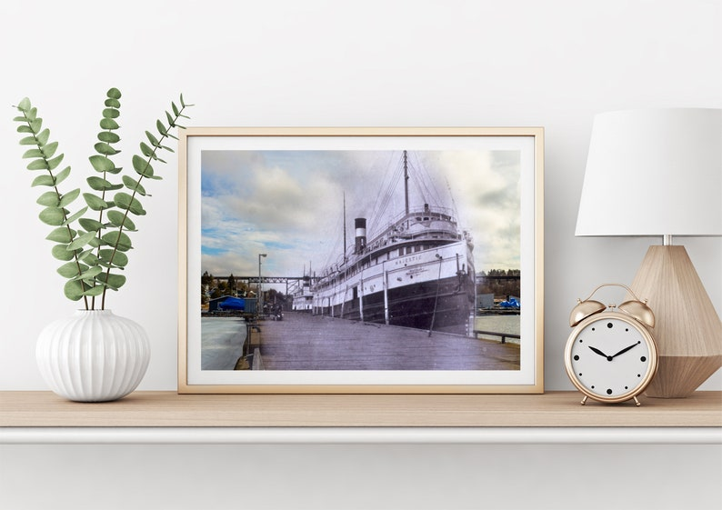 Town Dock  Steamer  Parry Sound 1920s & Now  Print 4  image 0