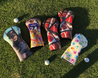 Custom Head Covers,  Sublimation Print Golf Covers, Faux Leather Full Color Print Golf Head cover, All Over Sublimation Golf Head Covers
