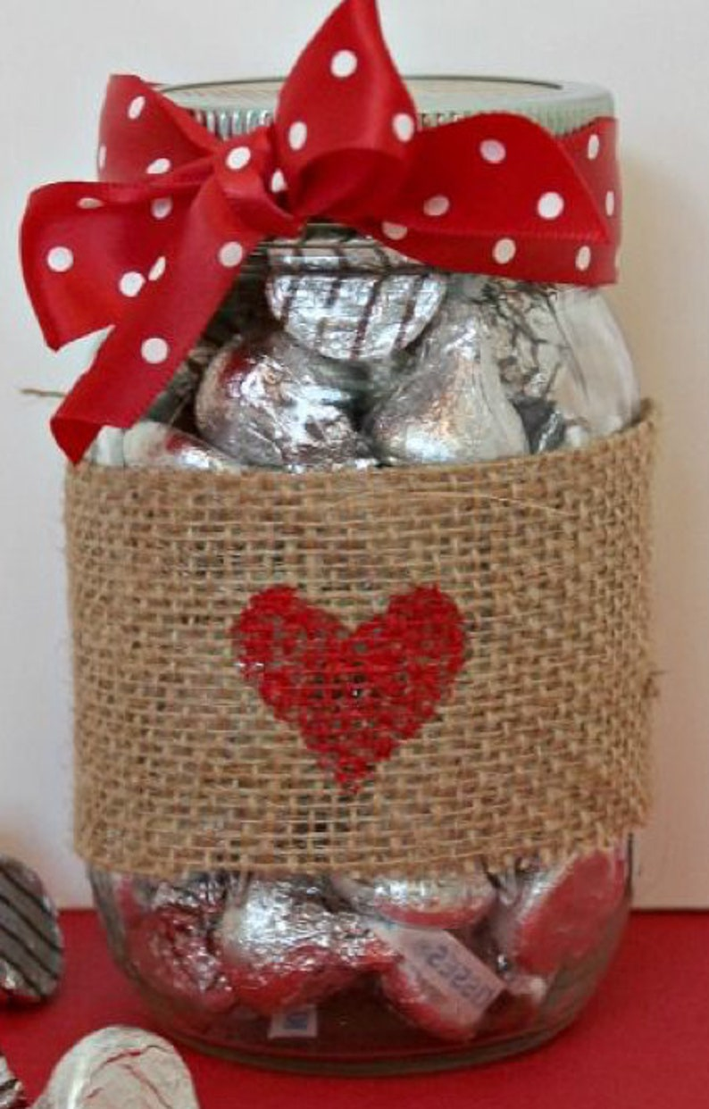 3 Valentines hugs and kisses jars