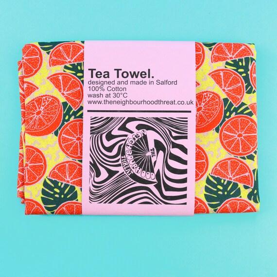 Yellow Citrus Print Tea Towel