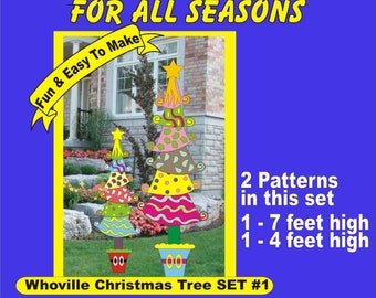 WHOVILLE Christmas Trees  Set #1 Woodworking Patterns - 2 patterns in set - Yard Art by PATTERNSRUS