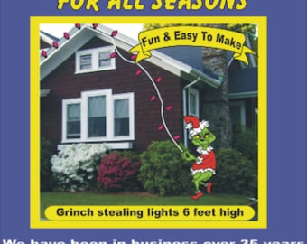 GRINCH STEALING Lights #3  Christmas  Woodworking  Pattern, about 6 ft. high, (lights not included),  Yard Art by PATTERNSRUS