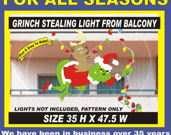 grinch on balcony stealing lights  Woodworking Pattern Yard Artby PATTERNSRUS