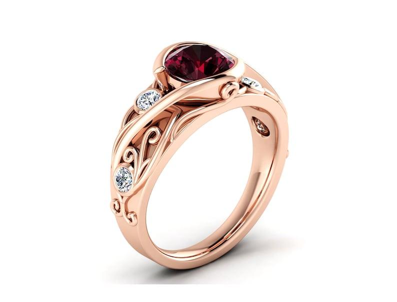 Rose Gold Garnet Ring Art Deco Garnet Ring Art Deco Filigree Ring Women Garnet Ring Red Garnet Ring Art Deco Floral Ring Bypass Setting Ring