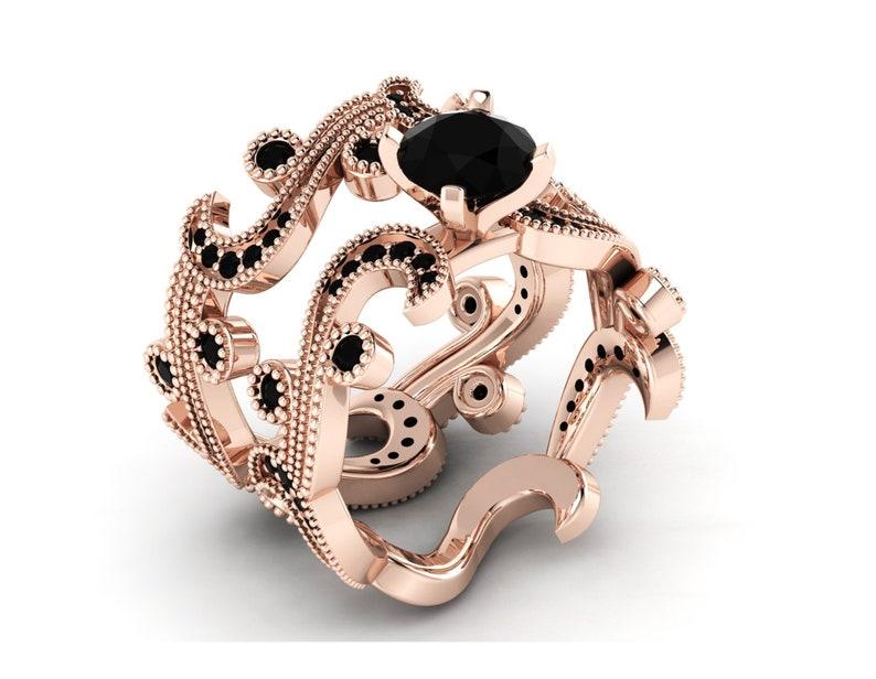 Rose Gold Black Onyx Vintage Wedding Ring Set Black Onyx Bridal Ring Set Black Onyx Bridal Engagement Ring Set Vintage Black Stone Ring Set