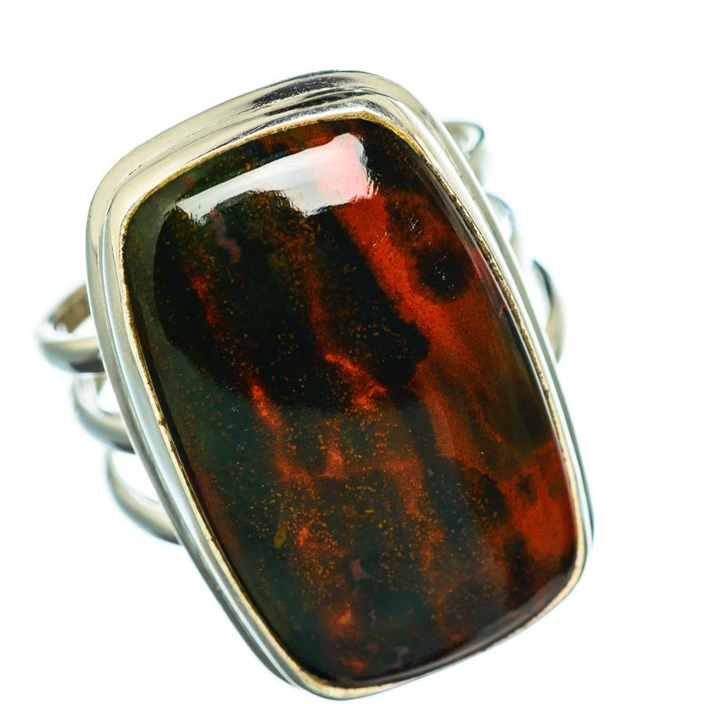 Natural Bloodstone Ring Promise Ring Gift Bloodstone Silver Ring Gift Silver Ring Engagement Ring Propose Ring Red Stone Ring