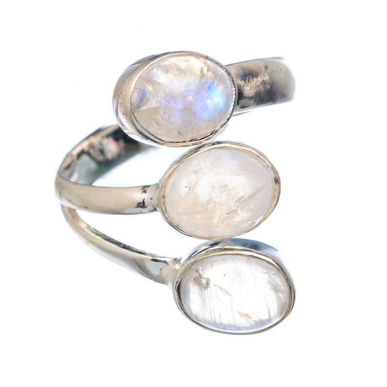 Triple Moonstone Silver Ring Promise Ring Wedding Ring Rainbow Moonstone 925 Silver Ring Moms Gift Love Ring Sterling Silver Ring