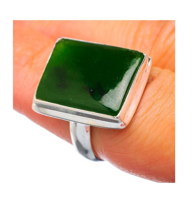 Jade Sterling Silver Ring Gift Ring Nephrite Jade Ring Green Stone Jade Jewelry Dainty Ring Boho Ring Statement Ring Christmas Sale