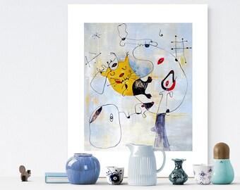 Cat Illustration, For Print, Joan Miro, Printable File,  Cat Print, Cat Lover Gift, Cat Art, Cat Decor, Cat Wall Art, Cats, Animal Print