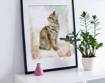 Cat Illustration, For Print, Naturalists, Printable File,  Cat Print, Cat Lover Gift, Cat Art, Cat Decor, Cat Wall Art, Cats, Animal Print