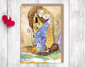 Personalized Valentine's Day Card, Valentine's Love, Valentine's Cats, Love You Card, Valentine Gift, Printable, Cats, Gustav Klimt