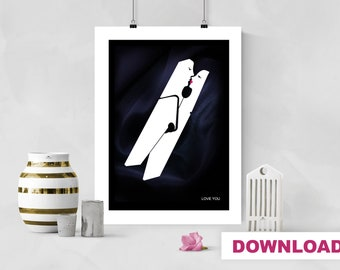 Personalize Valentine's Day Decor, Love Art, Love You Poster, Valentine's Day Gift, Printable Love, Custom Name Clothes Peg Minimalist Print