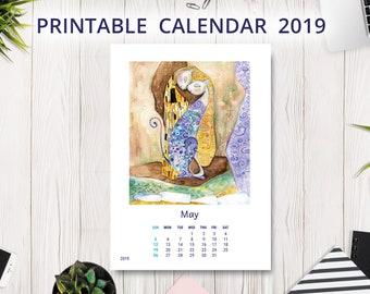 2019 Calendar PRINTABLE   Wall Calendar   Desk Calendar   Illustrated Calendar   Cat Calendar   Christmas Gift   Handmade Calendar   Monthly