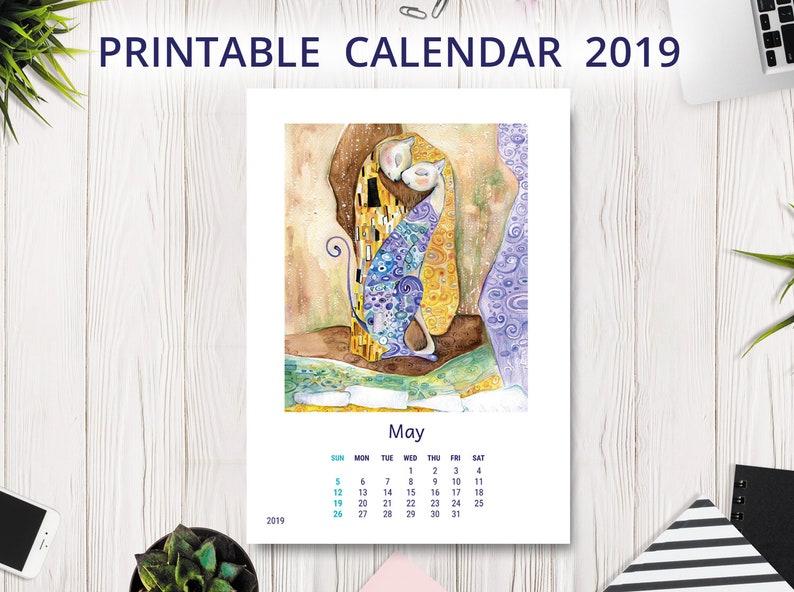 December 2019 Cat Calendar Printable 2019 Calendar PRINTABLE Wall Calendar Desk Calendar | Etsy