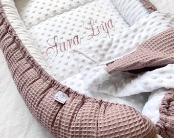 cuddly soft baby nest / nest |personalizable| made of Minkyfleece & Waffelpique with optional embroidered lying surface