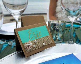 beach themed place cards etsy