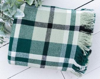 Light Green Cream Black Plaid Flannel Fringe Throw Blanket