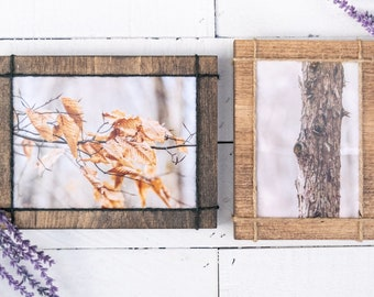 Wooden Picture Frame, Twine, 4x6, 5x7, Horizontal & Vertical