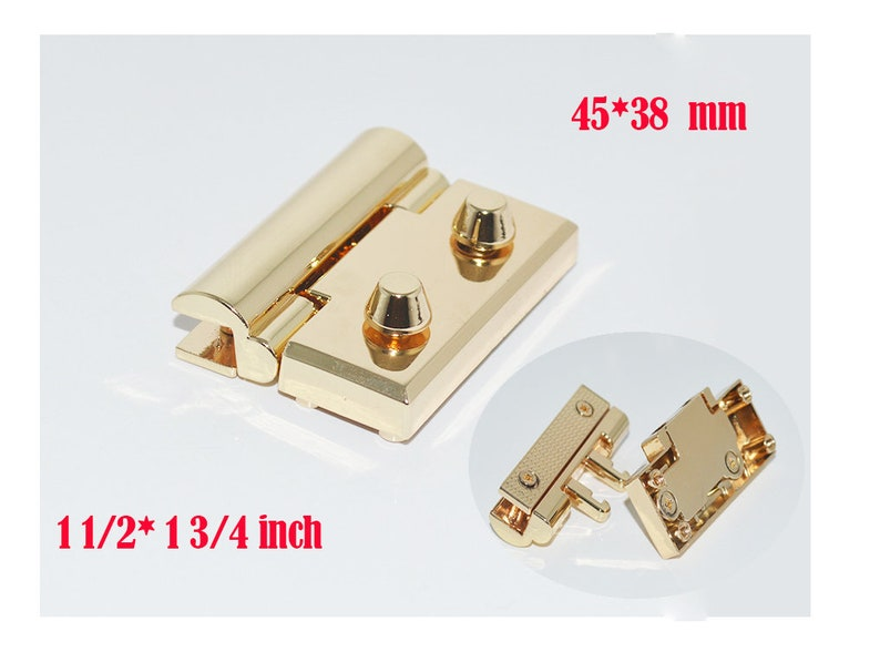 20sets 38*45mm 1 12*1 34 inch  metal Diy leather handmade bags square thumb spring lock,bag closure  hardware accessories  NFL-0173